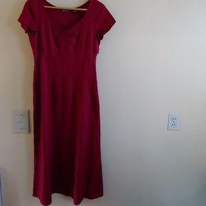 TALL, EDDIE BAUER Deep Red Linen Dress, 8